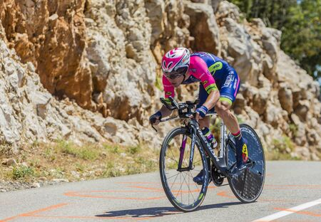 Col du Serre de Tourre,France - July 15,2016: The Slovenian cyclist Jan Polanc of Lampre-Merida Team riding during an individual time trial stage in Ardeche Gorges on Col du Serre de Tourre during Tour de France 2016.