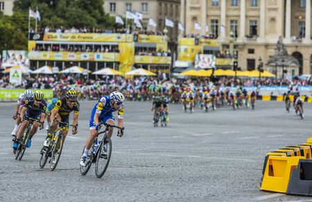 Paris,France - 23 July, 2017: The breakaway in front of the peloton rding in Place de la Concorde in Paris during the last stage of Le Tour de France 2017. Editorial
