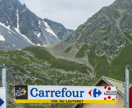 Col du Lautaret, France - July 19, 2014: Image of the banner signaling the arrival on the Col du Lautaret in Alps during the stage 14 of Le Tour de France 2014.