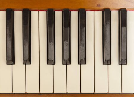 Bird eye view of a piano keys.