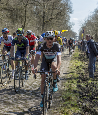 Trouee d'Arenberg,France - April 12,2015: The Belgian cyclist Yves Lampaert of  Etixx-Quick-Step Team riding in the peloton on the famous cobblestone road from the forest of Arenberg during the Paris Roubaix 2015 race.
