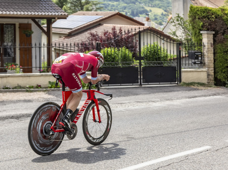 Bourgoin-Jallieu, France - 07, May, 2017: The Norwegian cyclist Gijs van Hoecke of Katusha Team riding during the time trial stage 4 of Criterium du Dauphine 2017.