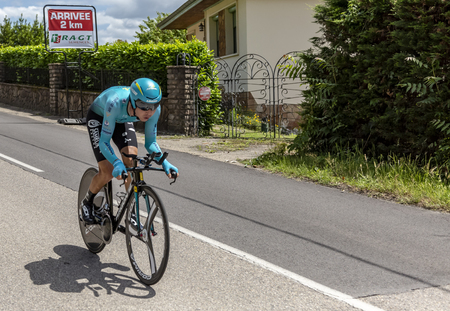 Bourgoin-Jallieu, France - 07, May, 2017: The Kazakh cyclist Bakhtiyar Kozhatayev of Astana Team riding during the time trial stage 4 of Criterium du Dauphine 2017.