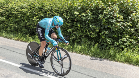 Bourgoin-Jallieu, France - 07, May, 2017: The Kazakh cyclist Nikita Stalnov of Astana Team riding during the time trial stage 4 of Criterium du Dauphine 2017. Redactioneel