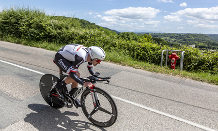 Bourgoin-Jallieu, France - 07, May, 2017: The German cyclist Johannes Frohlinger of Team Sunweb riding during the time trial stage 4 of Criterium du Dauphine 2017. Redactioneel