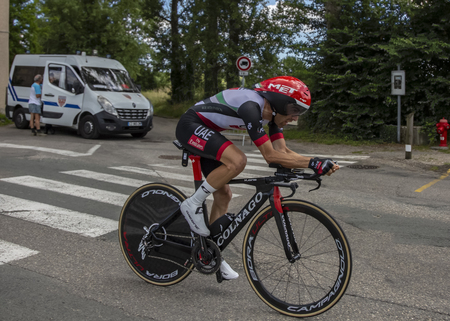 Bourgoin-Jallieu, France - 07, May, 2017: The Italian cyclist Manuele Mori of UAE Team Emirates riding during the time trial stage 4 of Criterium du Dauphine 2017. Redactioneel