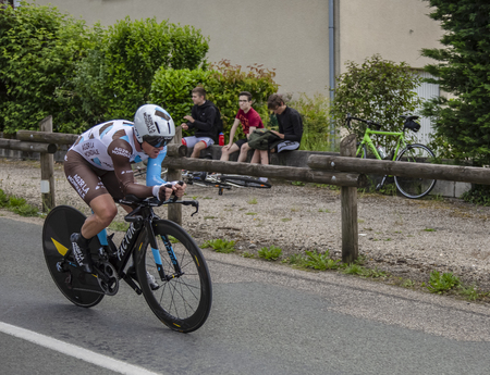 Bourgoin-Jallieu, France - 07, May, 2017: The French cyclist Samuel Dumoulin of Team AG2R The World riding during the time trial stage 4 of Criterium du Dauphine 2017.