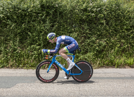 Bourgoin-Jallieu, France - 07, May, 2017: The Belgian cyclist Frederik Backaert of  Wanty-Groupe Gobert Team riding during the time trial stage 4 of Criterium du Dauphine 2017. Redactioneel