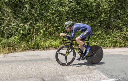 Bourgoin-Jallieu, France - 07, May, 2017: The Australian cyclist Damien Howson of Orica-Scott Team riding during the time trial stage 4 of Criterium du Dauphine 2017.