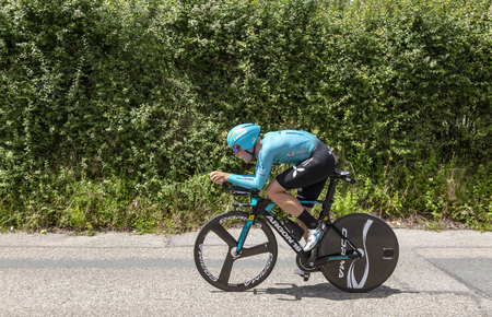 Bourgoin-Jallieu, France - 07, May, 2017: The Danish cyclist Michael Valgren of Team Astana riding during the time trial stage 4 of Criterium du Dauphine 2017. Redactioneel