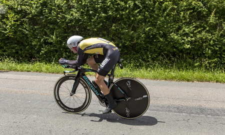 Bourgoin-Jallieu, France - 07, May, 2017: The American cyclist Alexey Vermeulen of LottoNL-Jumbo Team  riding during the time trial stage 4 of Criterium du Dauphine 2017. Redactioneel