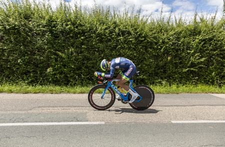 Bourgoin-Jallieu, France - 07, May, 2017: The Dutch cyclist Marco Minnaard of Wanty-Groupe Gobert Team  riding during the time trial stage 4 of Criterium du Dauphine 2017. Editoriali