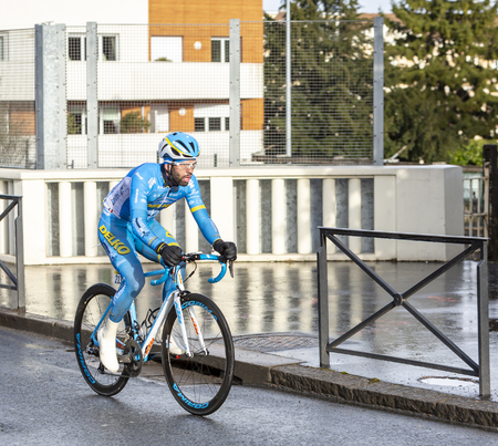 Meudon, France - March 4, 2018: The French cyclist Julien El Fares of  Delko-Marseille Provence-KTM Team riding during Paris-Nice 2018.