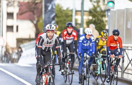 Meudon, France - March 4, 2018: The Dutch cyclist Julien El Fares of  Team Sunweb riding in the peloton during Paris-Nice 2018. 報道画像