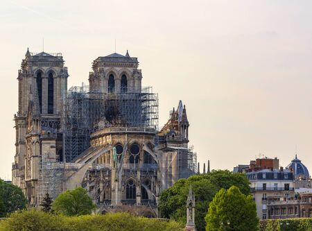 Detail image of the remains of Notre Dame Cathedral in Paris after the fire destroyed the whole roof. Zdjęcie Seryjne