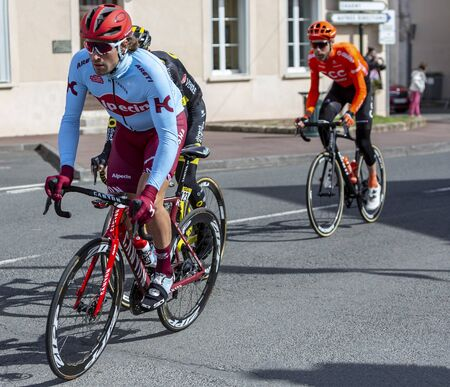 Chatillon-Coligny, France - March 10, 2019: The Austrian cyclist Marco Haller os Team Katusha-Alpecin riding in the peloton, in Chatillon-Coligny during the stage 3 of Paris-Nice 2019. Editorial
