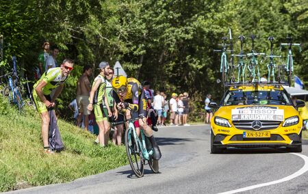 Bosdarros, France - July 19, 2019: The Dutch cyclist Steven Kruijswijk of Team Jumbo-Visma riding during stage 13, individual time trial, of Le Tour de France 2019.