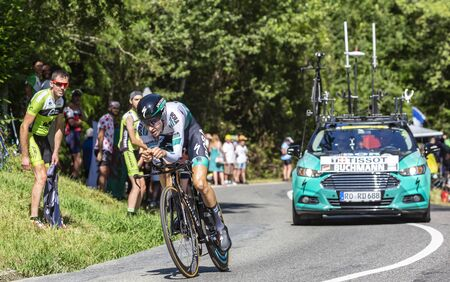Bosdarros, France - July 19, 2019: The German cyclist Emanuel Buchmann of Team Jumbo-Visma riding during stage 13, individual time trial, of Le Tour de France 2019.
