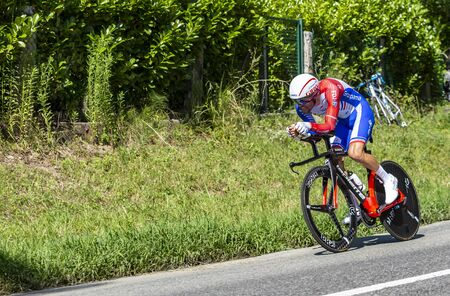 Bosdarros, France - July 19, 2019: The French cyclist Thibaut Pinot of Team Groupama-FDJ riding during stage 13, individual time trial, of Le Tour de France 2019. Redactioneel