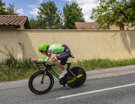 Bourgoin-Jallieu, France - 07, May, 2017: The Dutch cyclist Dylan van Baarle of Cannondale-Drapac Team  riding during the time trial stage 4 of Criterium du Dauphine 2017.