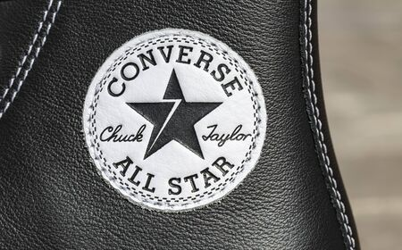 Chartres, France - Spetember 2, 2019: Close-up of the upper part of an All Star Converse sneaker featuring the logo of the company
