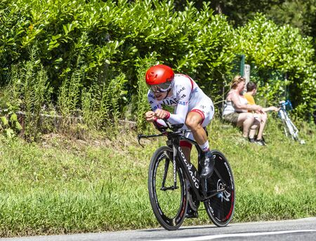 Bosdarros, France - July 19, 2019: The Spanish cyclist Sergio Luis Henao Montoya of Team UAE Emirates riding during stage 13, individual time trial, of Le Tour de France 2019.