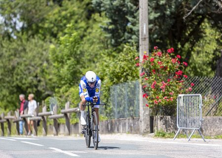 Bourgoin-Jallieu, France - 07, May, 2017: The Spanish cyclist Enric Mas of Quick-Step Floors Team riding during the time trial stage 4 of Criterium du Dauphine 2017.