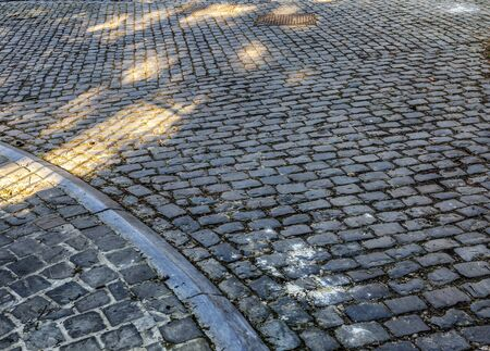 Detail of the famous cobblestone road Muur van Geraardsbergen located in Belgium. The Tour of Flanders is one of the most popular tours in the world.