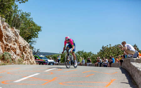 Col du Serre de Tourre,France - July 15,2016: The Portuguese cyclist Rui Costa of Lampre-Merida Team riding during an individual time trial stage in Ardeche Gorges on Col du Serre de Tourre during Tour de France 2016