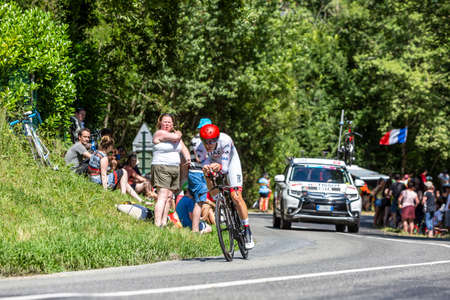 Bosdarros, France - July 19, 2019: The Portuguese cyclist Rui Costa of UAE Team Emirates riding during stage 13, individual time trial, of Le Tour de France 2019. 新聞圖片