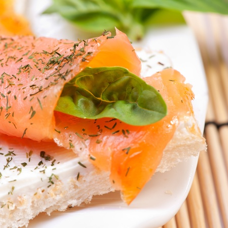 Fresh salmon sandwich photo
