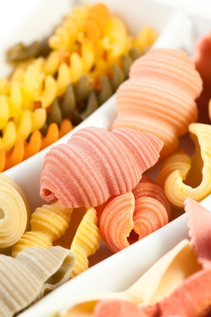 different kinds of pasta, close up photo