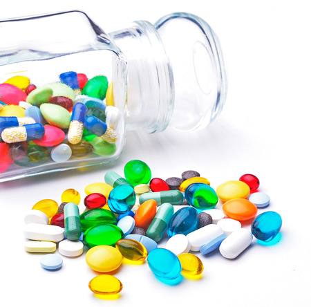 Colorful tablets with capsules Stok Fotoğraf