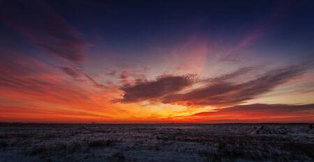 Winter sunset landscape Stok Fotoğraf