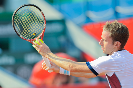 BUCHAREST, ROMANIA - SEPTEMBER 17: Unidentified tennis player in action during BRD Nastase Tiriac Trophy on September17, 2011 in Bucharest, Romania Editöryel