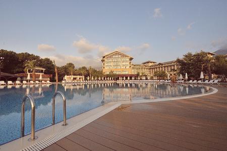 Antalya, Turkey - May 16: Luxury hotel on coast of Mediterranean sea on 16 May 2010, Antalya, Turkey