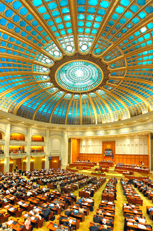 BUCHAREST, ROMANIA - JUNE 17, 2014: Romanian Senate celebrating 150 years of activity. Romanian Senate was founded by Alexandru Ioan Cuza in 1864, being one of the oldest in Europe Editöryel