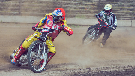 BRAILA, ROMANIA - May 31: Unidentified riders participate at National Championship of Dirt Track on May 31, 2014 on Braila, Romania Editöryel