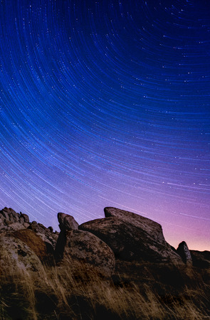 Motion of the stars in the night sky on a summer
