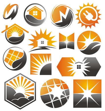 warm house: set of solar vector Illustration