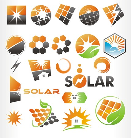 clean house: solar vector or icons