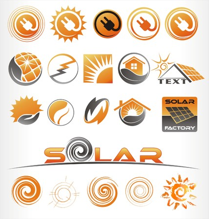solar heating: solar vector or icons
