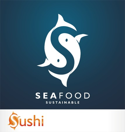 fresh seafood: Fresh seafood logo template design. Vector illustration. Illustration