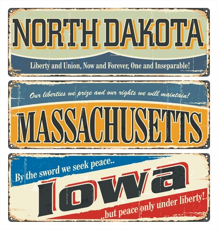 old postcard: Vintage tin sign collection with USA state. North Dakota. Massachusetts. Iowa. Retro souvenirs or old postcard templates on rust background.