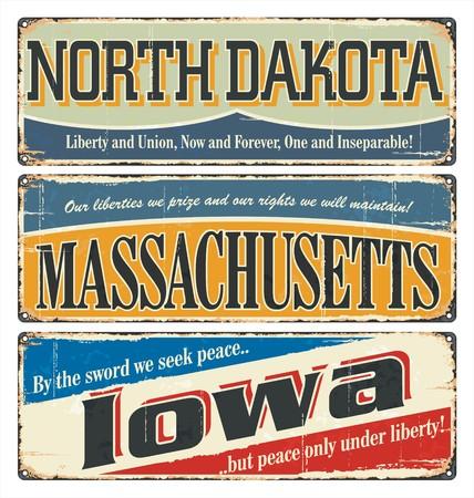 retro postcard: Vintage tin sign collection with USA state. North Dakota. Massachusetts. Iowa. Retro souvenirs or old postcard templates on rust background.