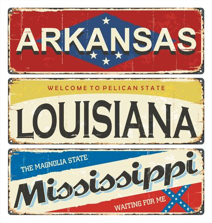Vintage tin sign collection with America state. Arkansas. Louisiana. Mississippi. enamel road sign Retro souvenirs or postcard templates on rust background. American flag. Stars.