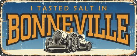 Vintage tin road sign collection with USA cities. Bonneville. Utah. Retro souvenirs old poster road speed race rust background. Race. 向量圖像