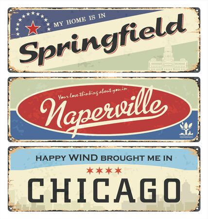 Vintage tin sign collection with USA cities. Springfield. Naperville. Chicago. Retro souvenirs Illinois templates on rust background.