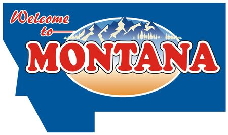 Vintage tin sign  with Montana state. Download, icon. All States. Montana. Retro souvenirs or old paper postcard templates on rust background. States of America. Ilustrace