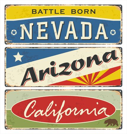 Vintage tin sign collection with USA. State Nevada. Arizona. California. Retro souvenirs or postcard templates on rust background. Ilustração